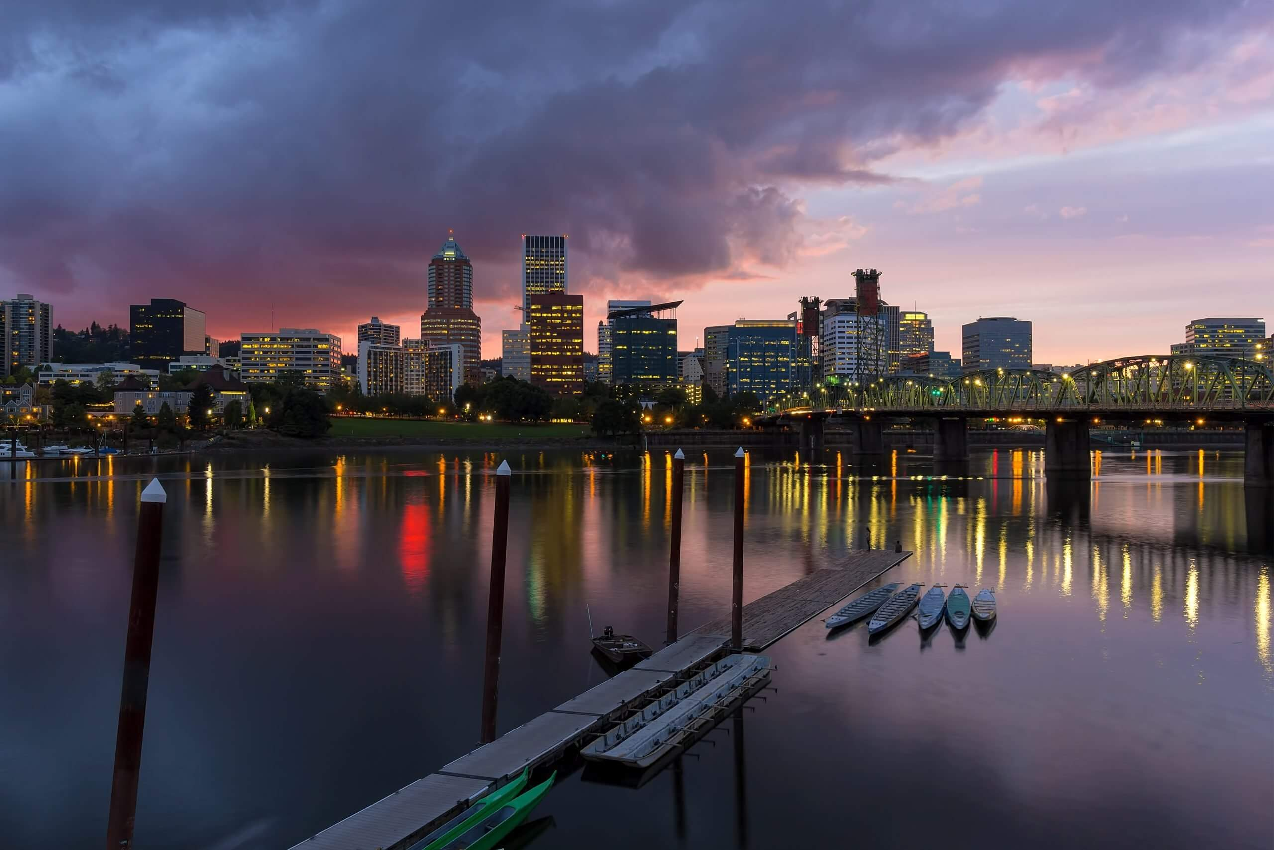 portland waterfront at dusk